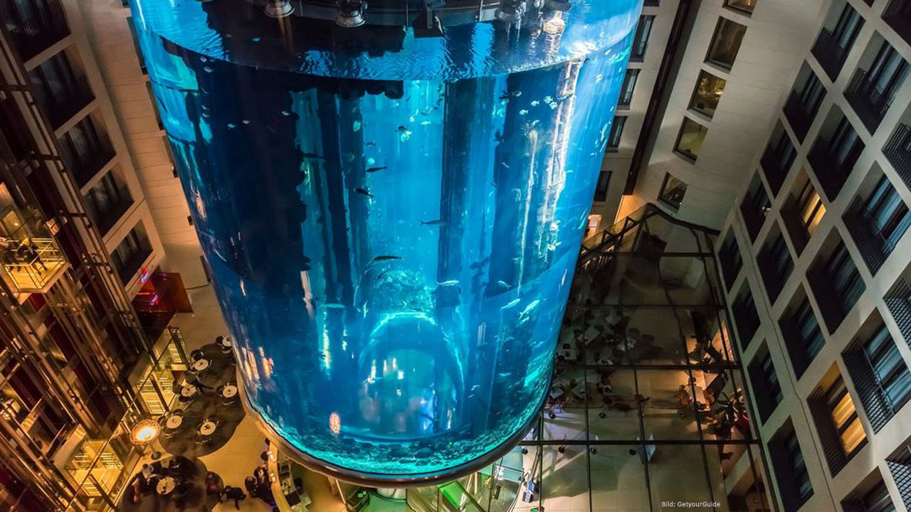 Cylindrical aquarium at AquaDom/Sea Life Berlin