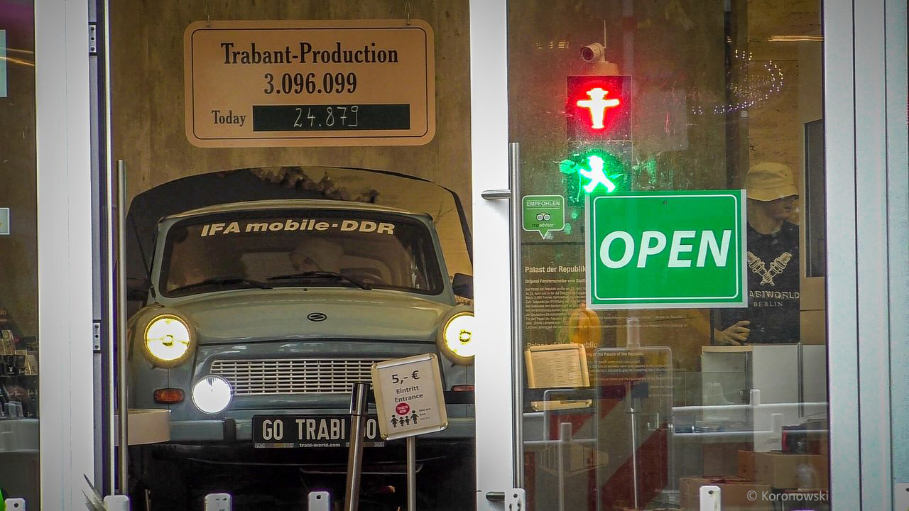 The entrance to the Trabi Museum. You can see a Trabant in through the window.